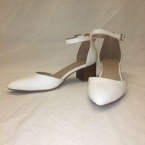 White block heeled sandals